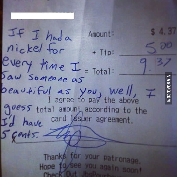 A bartender got this as a tip. Smoothest guy ever.