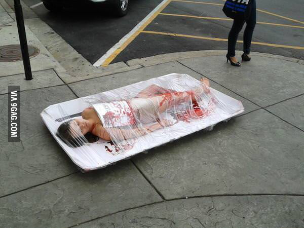 Not sure if PETA protest or just new Dexter episode