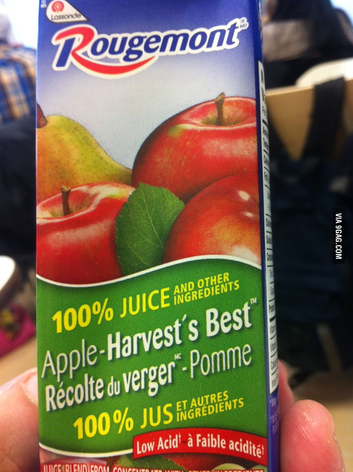 100% real juice...And other Ingredients.....