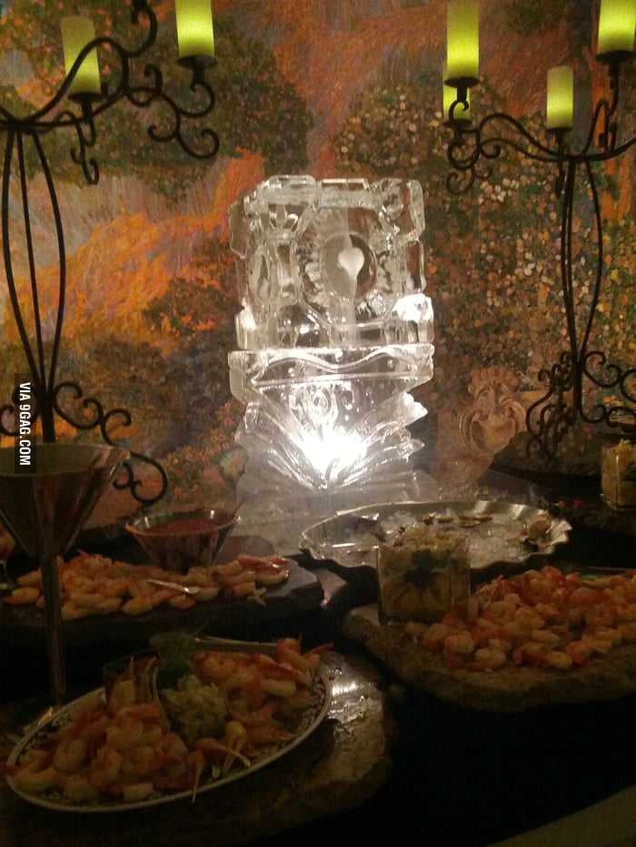 My friend got married and this was his ice sculpture.