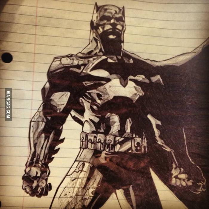Batman Drawing In My School Notes