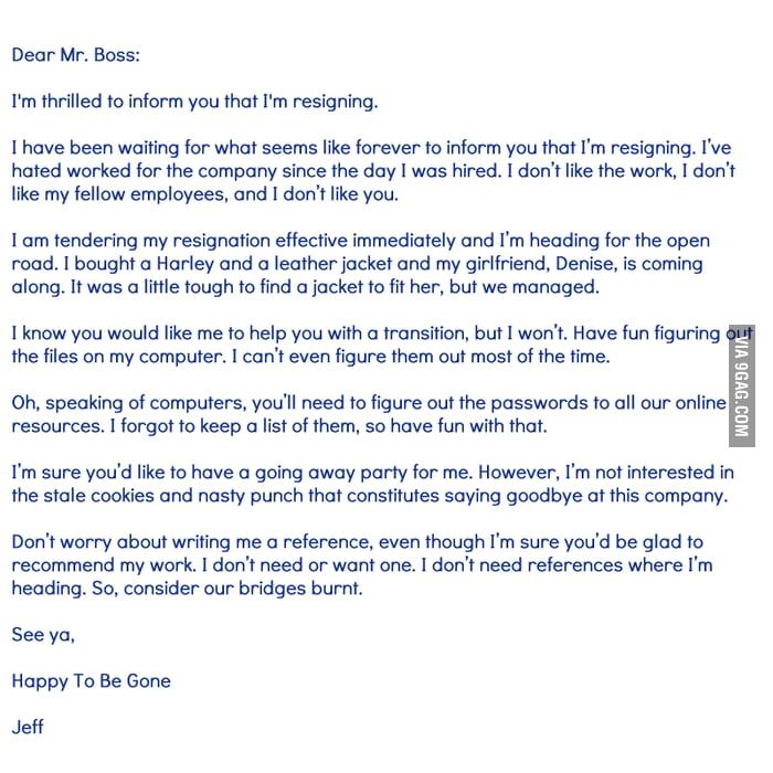 Funny Resignation Letter - 9Gag