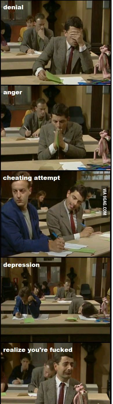 The 5 stages of exam taking