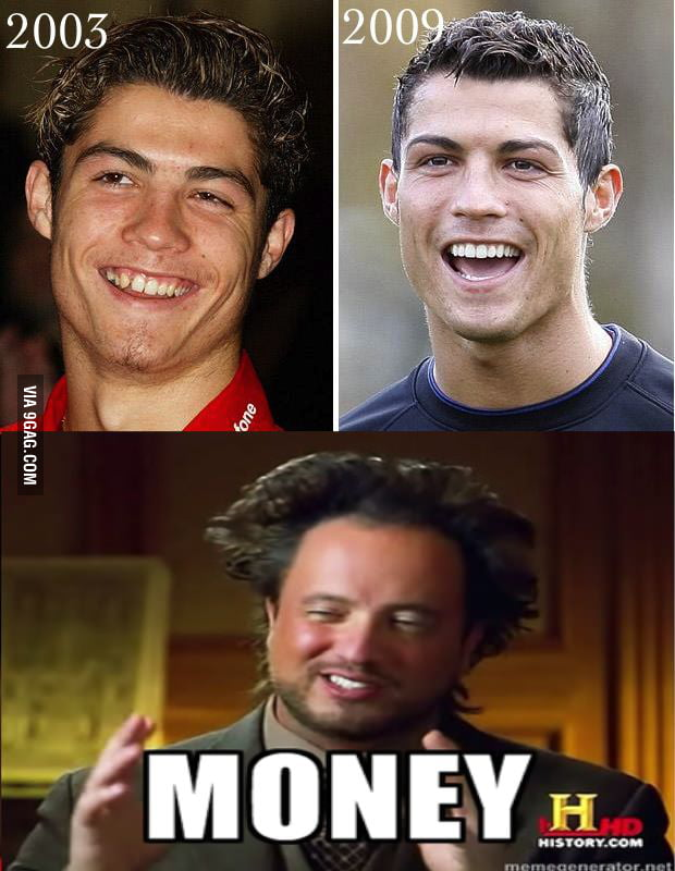 Cristiano Ronaldo before and after money - 9GAG