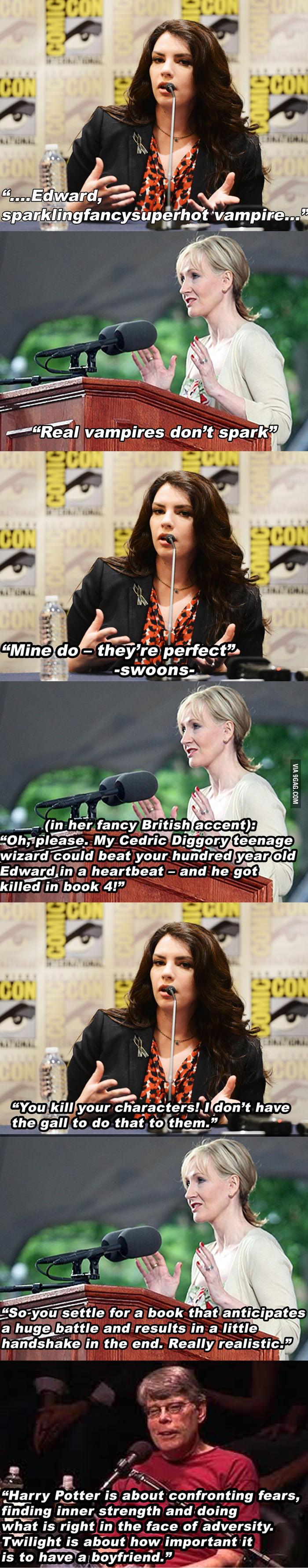 Stephanie Meyer and J.K. Rowling debate.