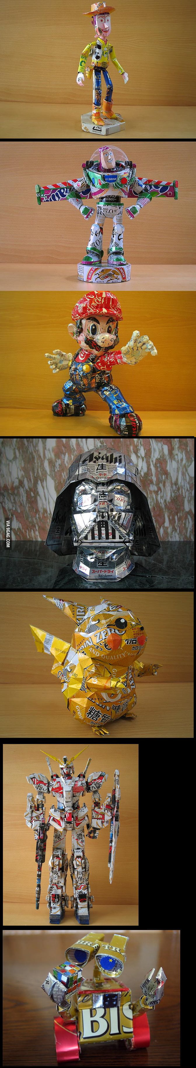Action figure using drink cans by Japanese artist, Macaon