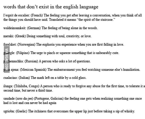 Words that don't exist in the English language