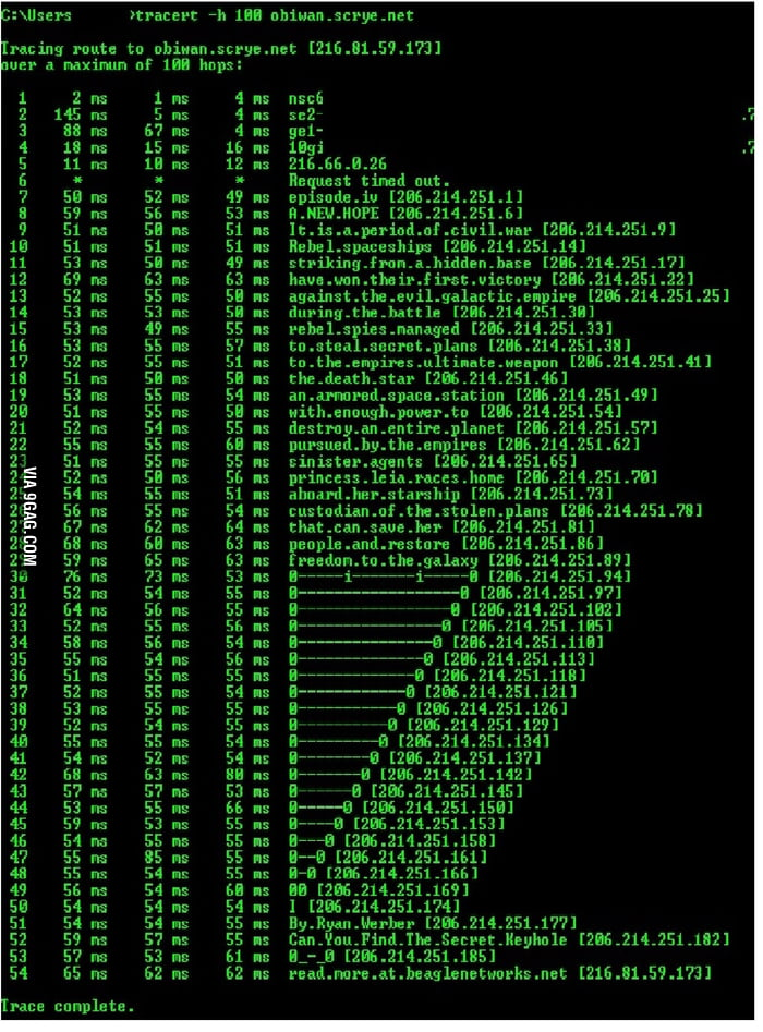 star wars intro in traceroute larger image 9gag