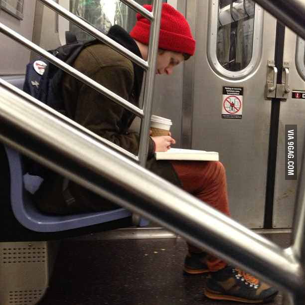 Michael Cera keeping to himself on the subway