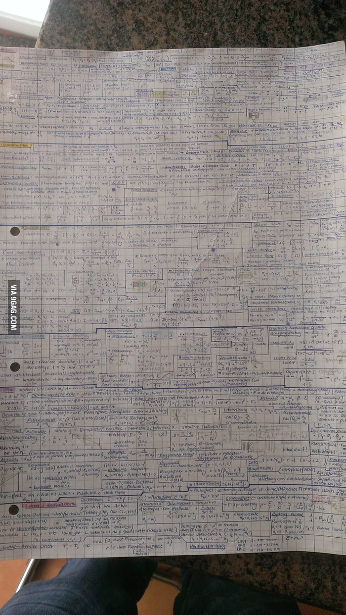 We could only bring one sheet to the exam he said