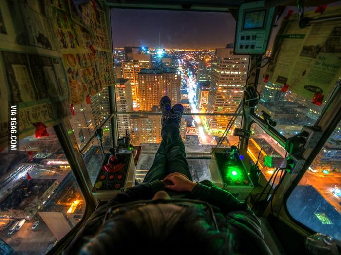The crane operator's view