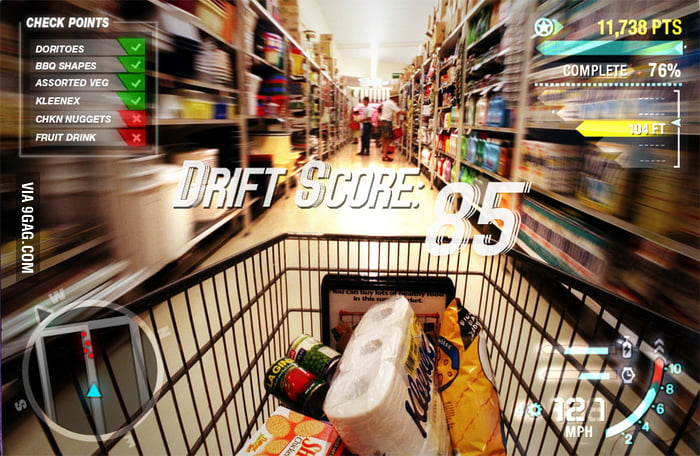 When my mom give me shopping cart.