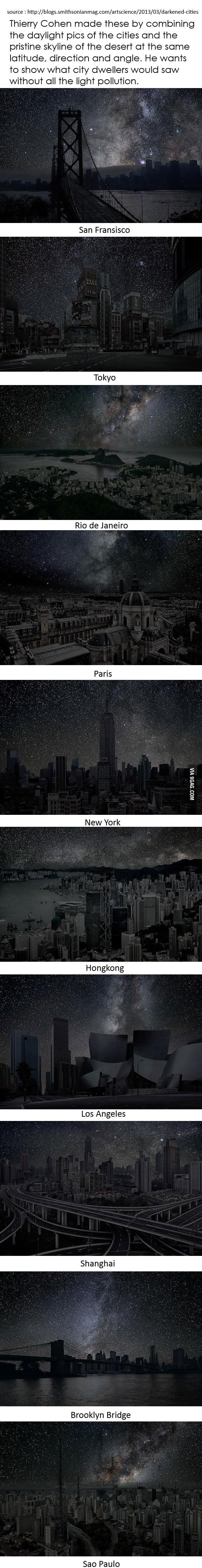 Cities' pure night skyline