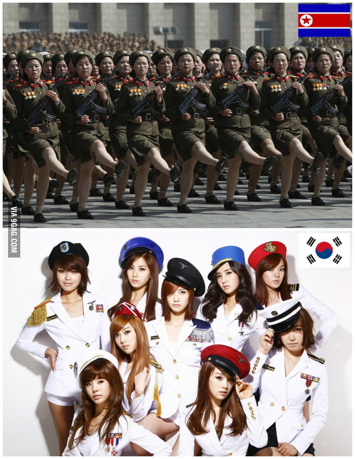 North Korea and South Korea in a simple image