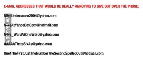 Funny Email Addresses - 9GAG