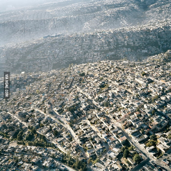 Mexico City looks like an urban ocean from up here...