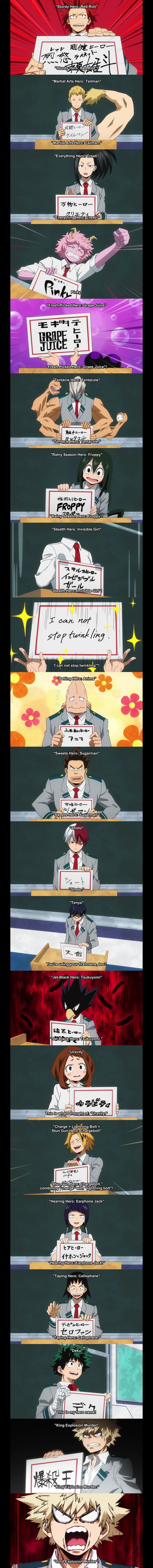 My Hero Academia Class 1 A Hero Names 9gag