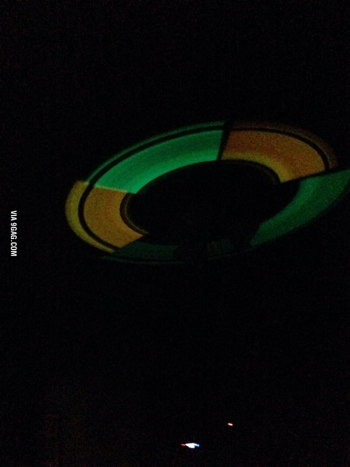 Glow Sticks Taped To A Ceiling Fan