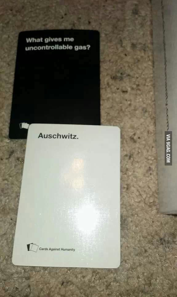 playing cards against humanity  with my jewish friend