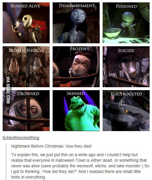 how the characters from nightmare before christmas died - Nightmare Before Christmas Theory