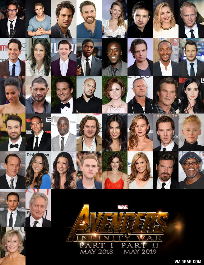JESUS CHRIST! This is the cast of Avengers Infinity War - 9GAG