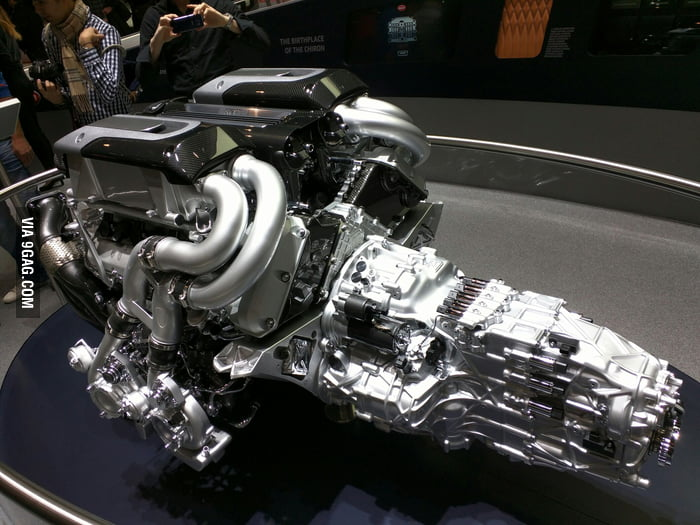 the engine of the new bugatti chiron with 1500hp and 4 turbochargers 9gag