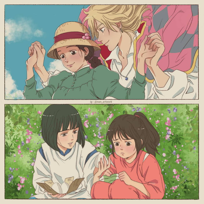My Ghibli Fanart Of Howls Moving Castle And Spirited Away Whats Your Fav Scene From Both Movie 9gag