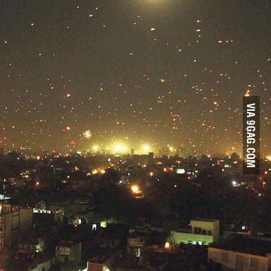Millions of flying parachutes - Kite festival (Uttarayan) at