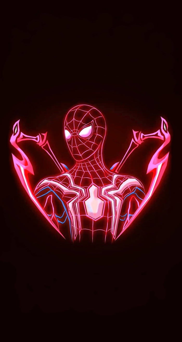 A Dark Overall Spiderman Wallpaper With Neon Themed Trace That Doesn039t Hurt