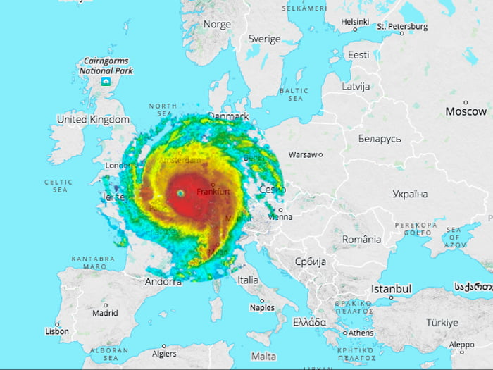 Hurricane Irma if it would have passed over Europe