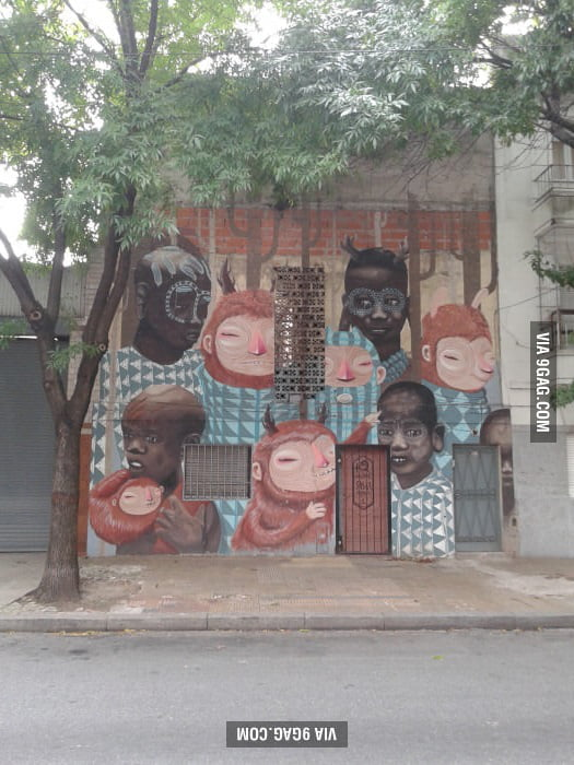 Creepy painting in buenos aires