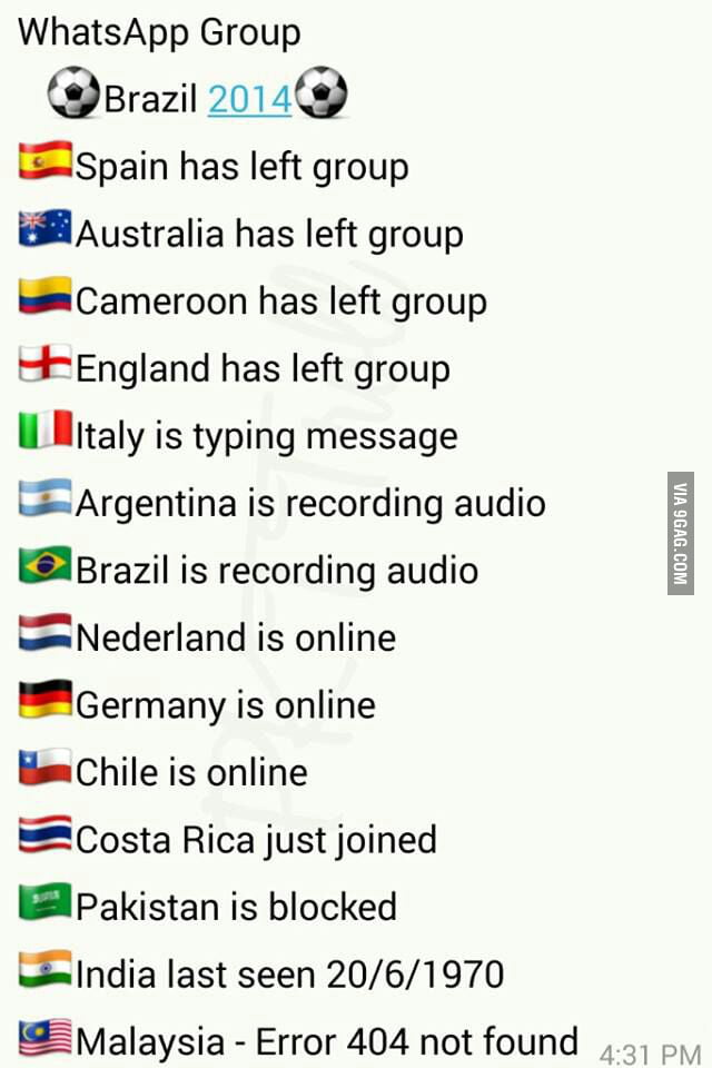 World Cup 2014 Whatsapp group chat - 9GAG
