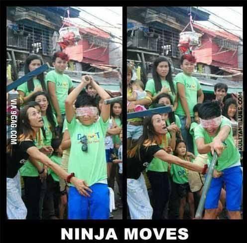 Ninja moves? I think it's GAY moves...LOL - 9GAG
