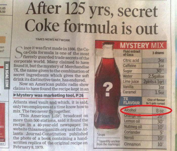 Someone found the COCA-COLA secret recipe hidden in an old newspaper.