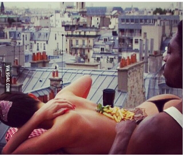 Just Eddie Murphy Eating A Steak With Fries On A Womans Body In