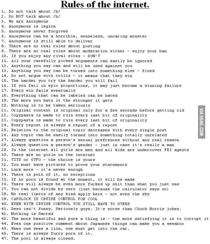All The Rules Of The Internet (I Think) - 9GAG