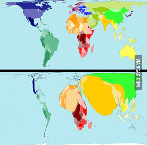 World Map Correct Proportion.World Map Illustrated Proportion Of World Population Existing On