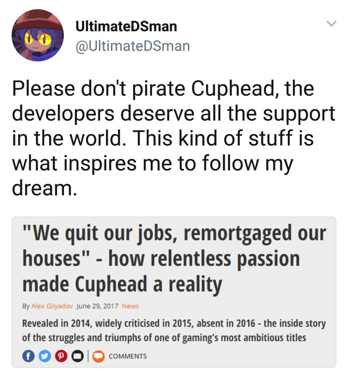 The cuphead developers need the money from their game - 9GAG
