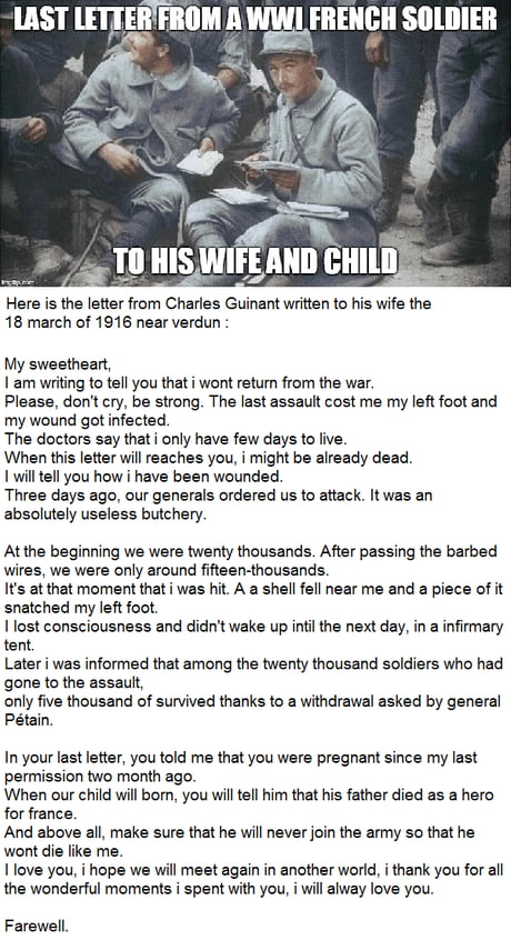 Heartbreaking letter from a soldier to his wife