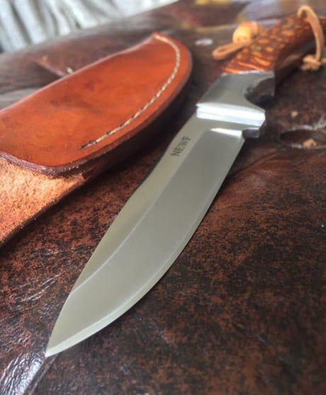 A skinning knife my cousin in Texas made  Solid piece of
