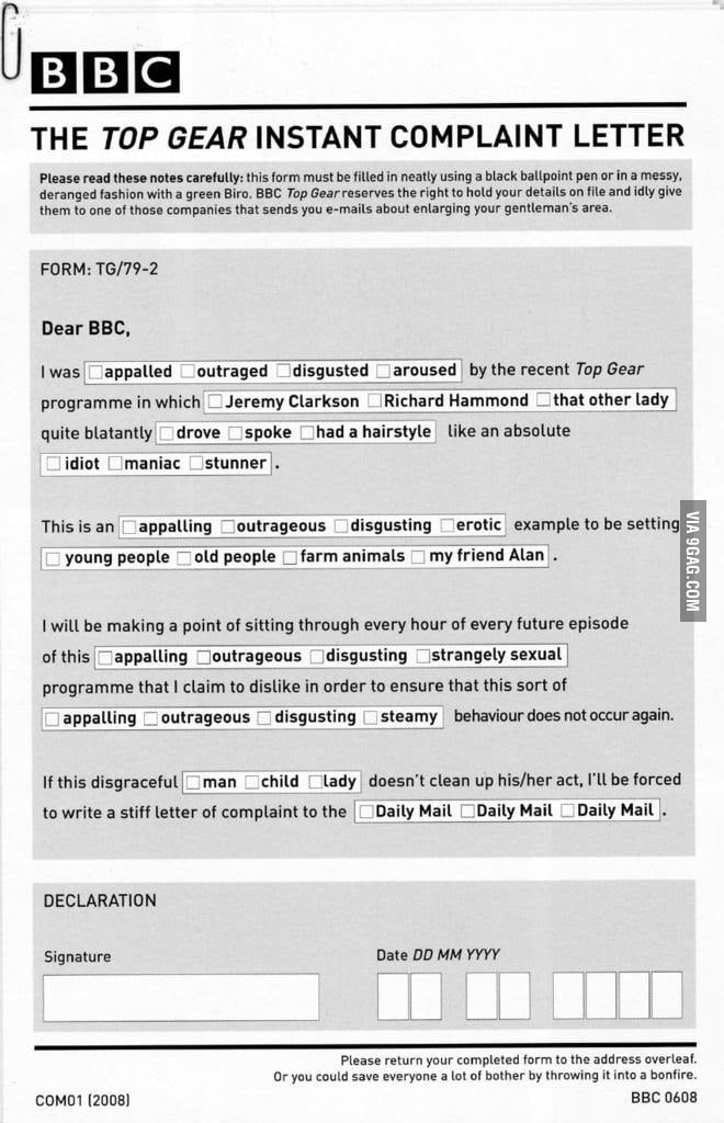 Top gear instant complaint letter