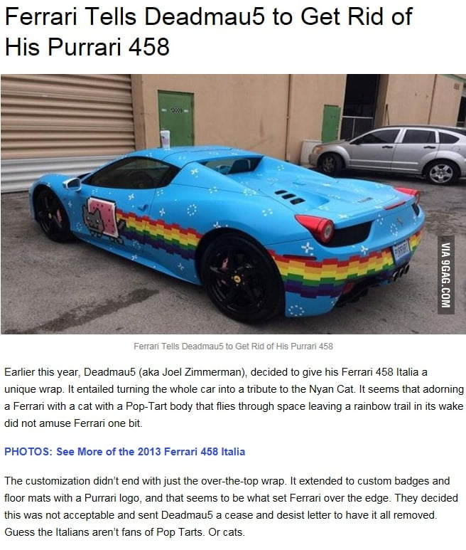 So This Happened Ferrari Is A Bunch Of A Holes It Was His Car And He Should Be Able To Do As He Pleases With It 9gag