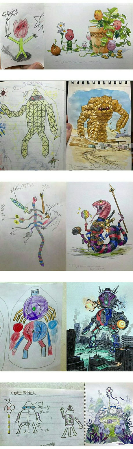 An art designer modified his son's drawing and make it more badass