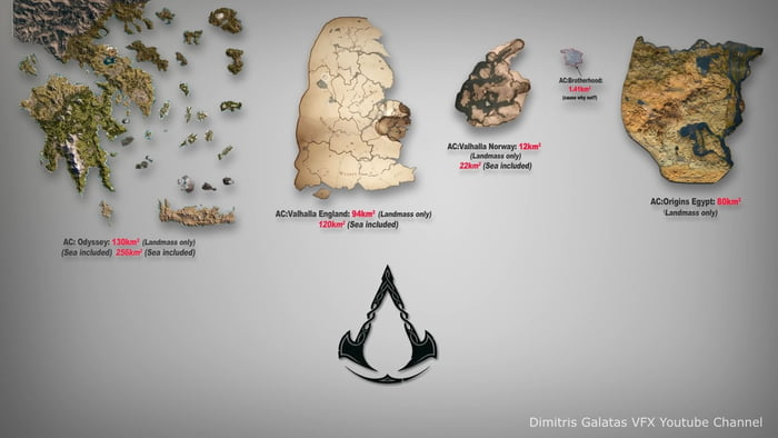 Size Comparison From Some Assassins Creed Maps To Valhalla Credit Goes To The Youtube Channel That I Found It On 9gag