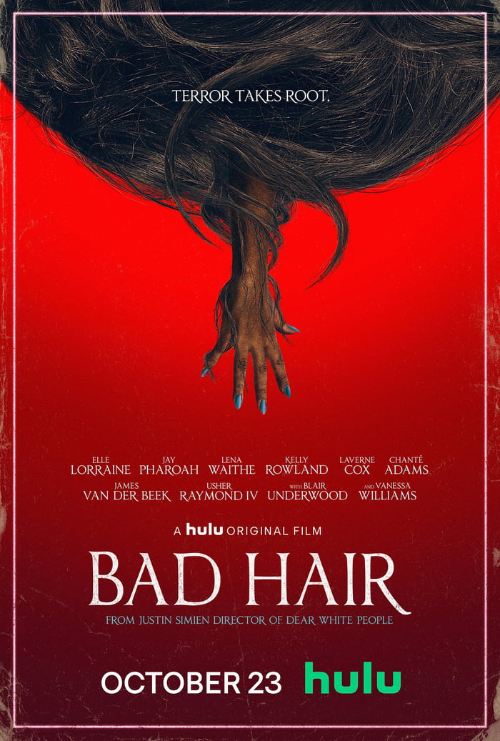 First Poster for Comedy-Horror 'Bad Hair' - In 1989, an ambitious young  woman gets a weave in order to succeed in the image-obsessed world of music  television. However, her flourishing career may