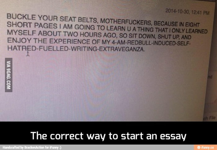 the correct way to start an essay gag