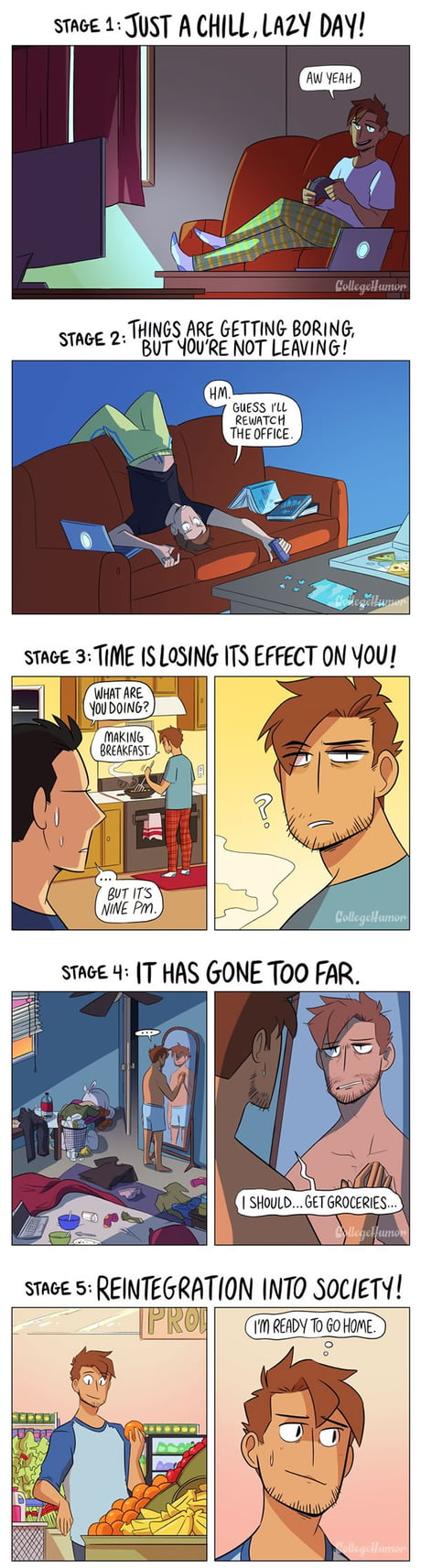 The 5 Stages Of Not Leaving Your Home