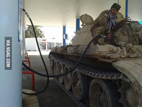 Libyan Army Ladies And Gentlemen A Tank Refueling At A