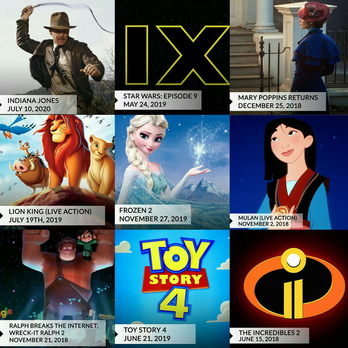 disney has revealed the release dates for some of the most