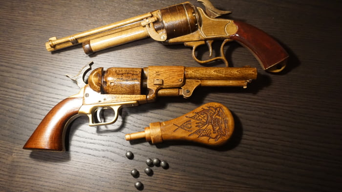 Wooden Colt Dragoon and LeMat - 9GAG